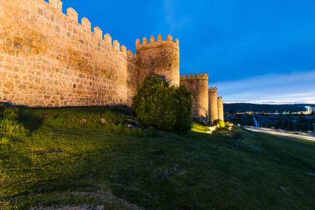 Twilight illuminated walls of Avila,Spain Banco de Imagens