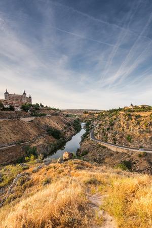 mancha: Alcazar of Toledo, Spain and river Tagus