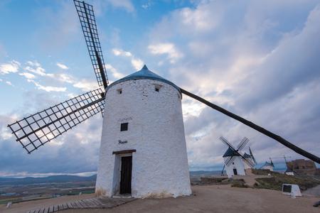 Legendary Don Quijote windmills in Consuegra,Spain. Castila la Mancha province Banco de Imagens