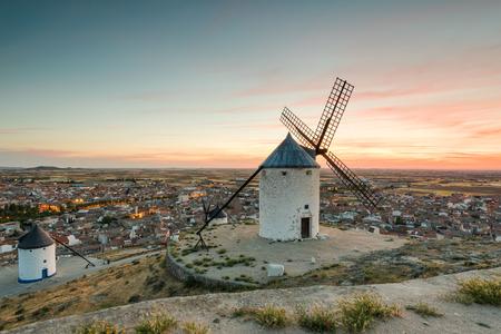 Windmill in Consuegra, Spain at sunrise