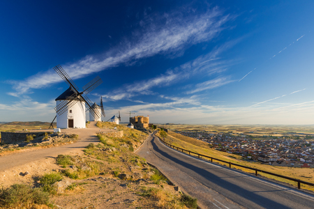 road to windmills in Consuegra,Castila La Mancha, Spain Banco de Imagens