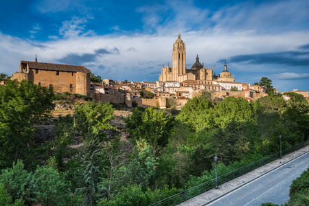 Cathedral in Segovia on hill top kissed with sun rays, Spain