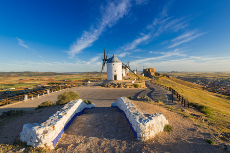 Medieval windmills on hill top in Consuegra,Spain