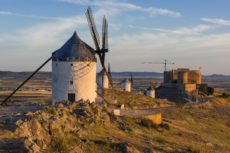Don Quijote windmills and castle in Consuegra,Spain