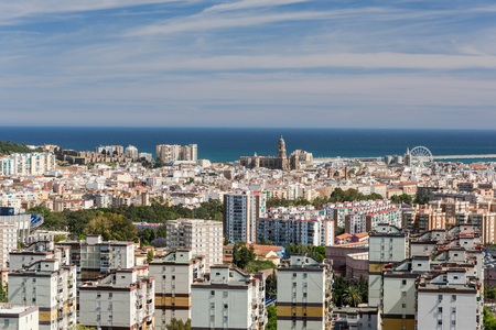 Aerial panoramic view over Malaga, Andalusia, Spain