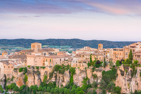 Old part of Cuenca town in Spain with hanging houses over cliffs