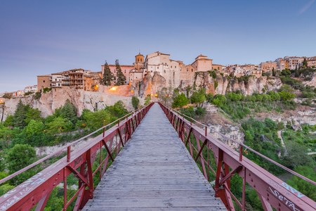 Foot bridge to Cuenca in Spain. early morning photo