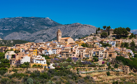 Polop village on hill top, Alicante,Spain. Фото со стока - 79463108