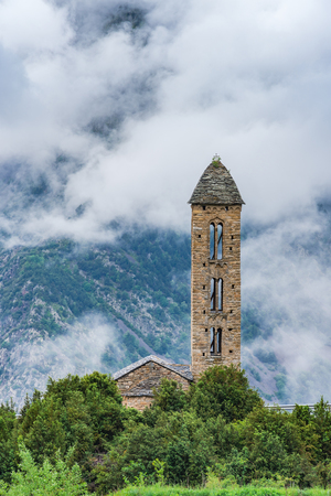 Clouds over Sant Miquel Engolasters church,Andorra.