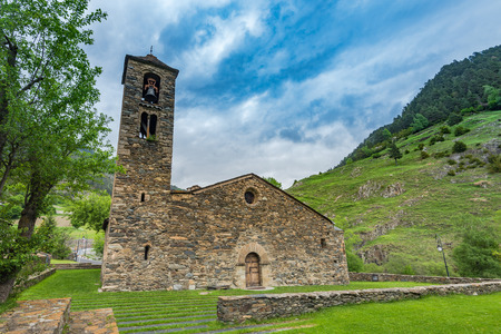 tourism in andorra: Old church in Andorra, dry stone facade.
