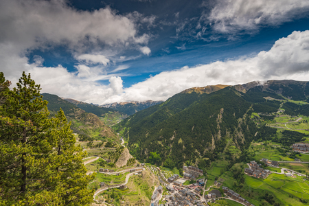 Panoramic vista over village and mountains in Andorra.