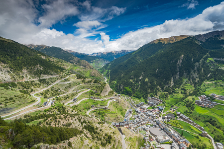 Drone view over village in Andorra. Imagens