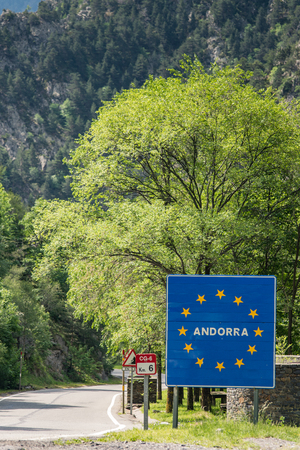 Andorra sign on border crossing with Spain