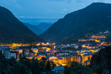Illuminated townscape in valley , Andorra