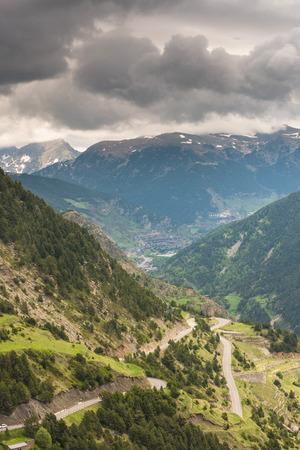 Serpentine road in Pyrenees,Andorra. Road in wilderness.