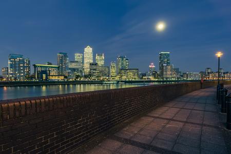 afterglow: Suthwark financial skyscrapers skyline illuminated, London Stock Photo