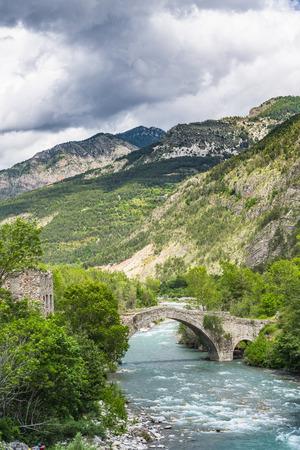 Old stone bridge in Apls,France. Stock Photo