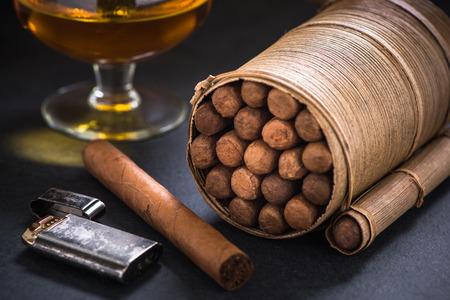 Cuban cigars in traditional cigars holder. Reklamní fotografie