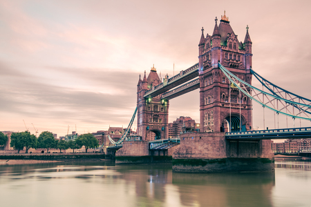 Colored image of London Tower Bridge at sunrise