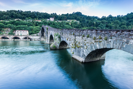 Maddalena Bridge over the Serchio river in Tuscany, Italy Stock Photo