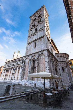 Lucca, 투 스 카 니, 이탈리아에서 Basillica 샌 미셸. 스톡 콘텐츠
