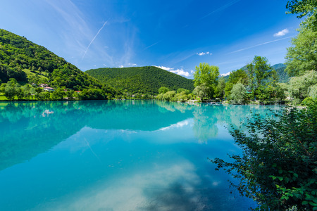 Turquoise water in Most na Soci lake in Slovenia.