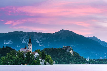 Early morning at Bled lake in Slovenia.
