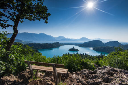 Bench overlooking Bled lake panoramic vista in full summer sun.