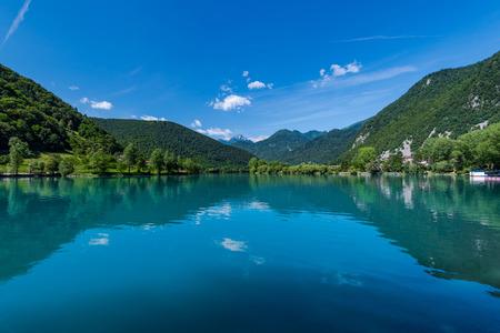 Julian Alps and Most na Soci Lake, Slovenia Stock Photo - 81575297