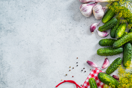 Ingredients for pickled gherkins and cucumber. Flat lay border background.