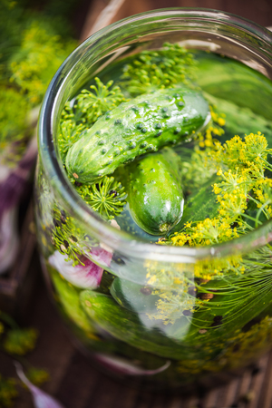 Traditional organic savory pickled gherkins and cucumbers in glass jar Banco de Imagens - 81971301