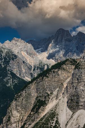 Mountains in Vrsic Pass in Triglav Park, Slovenia.