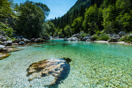Crystal clear water in Soca river, SLovenia. Imagens