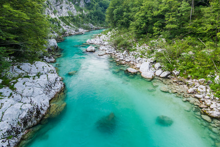 Crystal clear water in river Soca,Triglav,Slovenia. Stock fotó