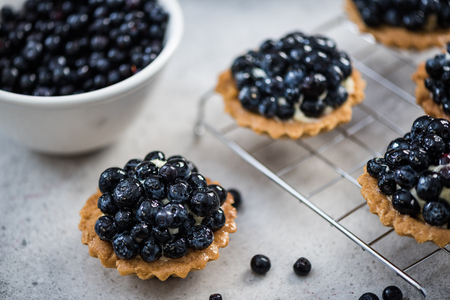Blueberry tart pie on concrete slate, making and ingredients concept. Stock Photo