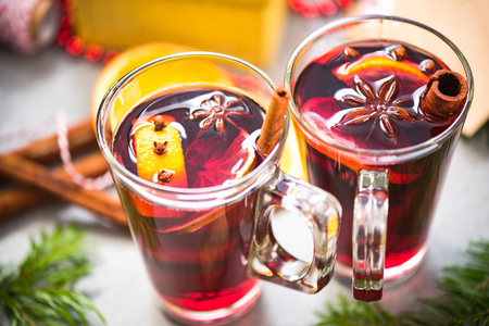 Two cups with mulled wine for Christmas.