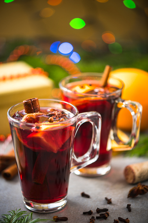 Christmas food and drink, mulled wine. Stock Photo
