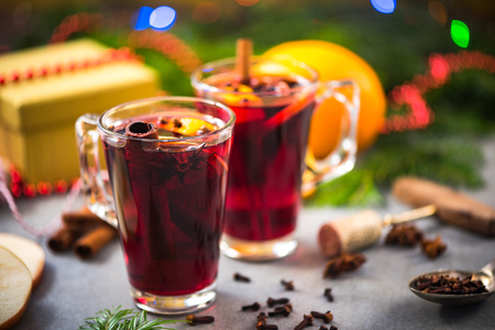Warming mulled wine on Chrstmas table.
