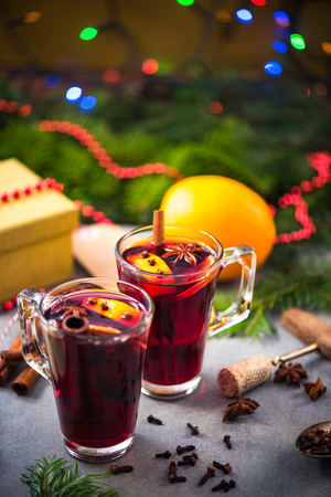 chrstmas: Warming mulled wine on Chrstmas table.