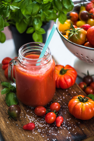 Homemade fresh and healthy tomato juice.
