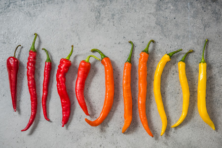 Colorful vibrant peppers, hot scale.