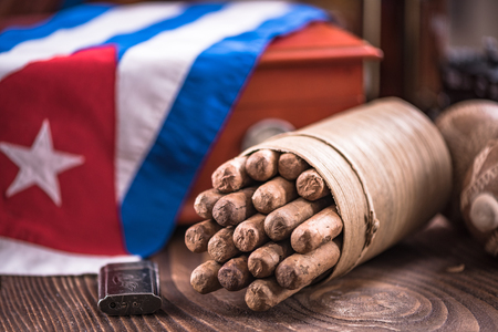 Bunch of handmade Cuban cigars.