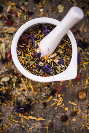 Preparation of natural aromatic tea.Healthy lifestyle and dieting concept. Stok Fotoğraf