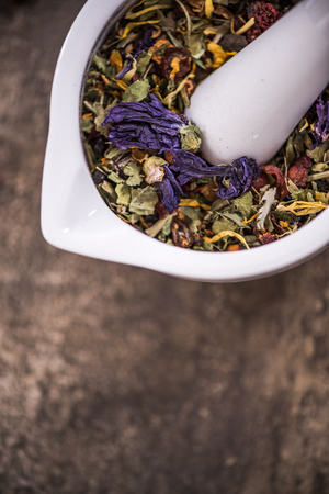loose leaf: Tea and herbal aromatic ingedients, dieting concept.