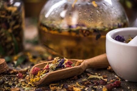 Making tea from loose tea and herbal ingredients.