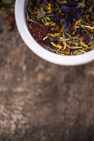 Tea and herbal aromatic ingedients, dieting concept.