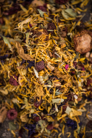 Loose herbal tea with dried flowers and fruits. Stok Fotoğraf