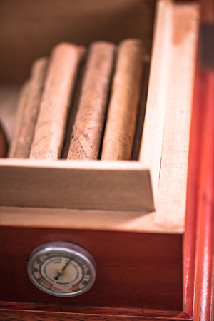 Wooden Cedr humidor, cigar storage.