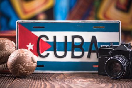 Viaje a Cuba concepto, artículos relacionados. Foto de archivo