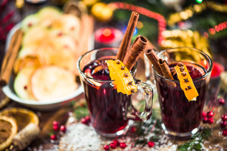 Mulled wine.Red wine with spices, anise and cinnamon. Stock Photo